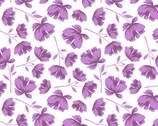 Garden Bloom - White Purple Flowers Toss from David Textiles Fabrics