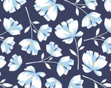 Garden Bloom - Flowers Navy Toss from David Textiles Fabrics