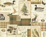 Lodge and Cabin - Animal Postcards Stamps from David Textiles Fabrics