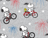 Peanuts - Snoopy and Woodstock Fireworks Grey from Springs Creative Fabric