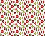 A Jingle Bell Christmas - Crossroads Ornament White from Benartex Fabrics