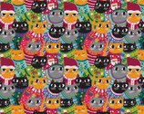 Christmas Sweater Cats - Cats Packed Multi by Allison Cole from Paintbrush Studio Fabrics