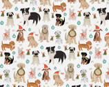Happy Howlidays - Doggie Christmas White by Richelle Lynn Garn from Paintbrush Studio Fabrics