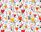 It's Raining Cats and Dogs - Hearts and Cats White by Terry Runyan from Contempo Studio