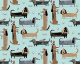 It's Raining Cats and Dogs - Long Dogs Teal by Terry Runyan from Contempo Studio