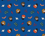 Kawaii Harry Potter - Characters Tossed Blue from Camelot Fabrics