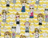 Kira Kira Girls OXFORD - Pop Girl Scallop Yellow from Kokka Fabric