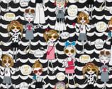 Kira Kira Girls OXFORD - Pop Girl Scallop Black from Kokka Fabric