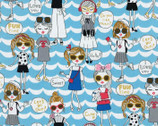 Kira Kira Girls OXFORD - Pop Girl Scallop Blue from Kokka Fabric