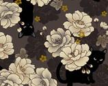 Neko Metallic - Cats Floral Grey from Quilt Gate Fabric