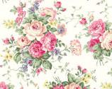 Rose Garden - Rose Bouquet Toss Cream from Quilt Gate Fabric