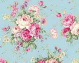 Rose Garden - Rose Bouquet Toss Aqua from Quilt Gate Fabric