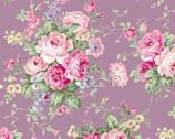 Rose Garden - Rose Bouquet Toss Lilac from Quilt Gate Fabric