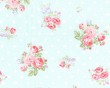 Floral Bouquet - Rose Bunches  Dots Toss Blue from Fabric Traditions Fabric