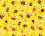Ladybugs GLITTER Yellow from Fabric Traditions Fabric