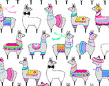 Llamas White from Fabric Traditions Fabric