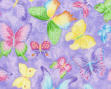 Butterflies GLITTER Violet from Fabric Traditions Fabric