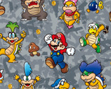 Nintendo Collection - Mario Character Action Grey from Springs Creative Fabric