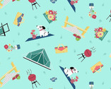 Adventure Time - Camping Toss Light Teal from Wilmington Fabric