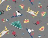 Adventure Time - Camping Toss Gray from Wilmington Fabric