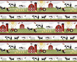 Country Life - Animals Barn Repeating Stripe from Wilmington Fabric