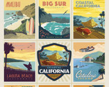 Destinations - California Beaches Poster Panel 36 Inches from Riley Blake Fabric