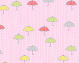 April Showers - Rainy Day Umbrellas Clear Pink from Andover Fabrics
