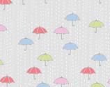 April Showers - Rainy Day Umbrellas Ozone Grey from Andover Fabrics