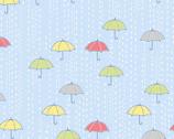 April Showers - Rainy Day Umbrellas Dusk Blue from Andover Fabrics