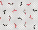 Pamper - Shoes High Heels Grey from Makower UK  Fabric