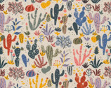 Arid Wilderness - Cacti and Succulents by Louise Cunningham from Cloud 9 Fabrics
