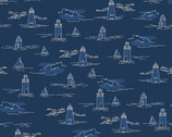 Harry and Alice Go to the Sea - Lighthouses Navy from Riley Blake Fabric