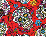 Calaveras - Mexican Heritage Red from David Textiles Fabrics