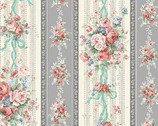 Blooming Rose - Rose Bouquet  Stripe Gray from Quilt Gate Fabric