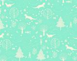 Otter Romp - Otter Forest Aqua Mint from Paintbrush Studio Fabrics