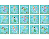 Little Mermaids - 24 Inch PANEL by Nicole in den Bosch from Elizabeth's Studio Fabric