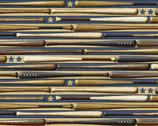 Game Time - All American Sport Baseball Bats Blue by Skyline Studio from Benartex Fabrics