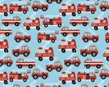 Working Wheels - Red Firetruck Blue by Arrolynn Weiderhold from Paintbrush Studio Fabrics