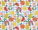 Food Face - Sunny Rainbow Flowers Fruits Blue White by Corinne Lent from Paintbrush Studio Fabrics