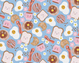 Food Face - Breakfast Blue by Corinne Lent from Paintbrush Studio Fabrics