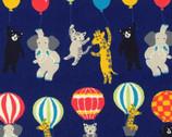 Bearry Land OXFORD - Animal Hot Air Balloons Navy from Robert Kaufman Fabric