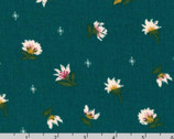 Rayon Crinkle - Twinkle Flower Toss Teal by Sunset Studio from Robert Kaufman Fabric