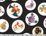 Pokemon - Characters Circles Toss Black from Robert Kaufman Fabric