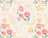 Spring Florals - Pink Leaves and Flowers Pale Pink from David Textiles Fabrics