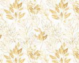 Spring Florals - Tonal Leaves Golden from David Textiles Fabrics