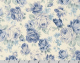 English Garden - Rose Floral Toss Blue on Natural by Sevenberry from Robert Kaufman Fabric