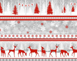 Winter Frost FLANNEL - Novelty Stripe Deer and Forest from Henry Glass Fabric