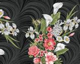 Magnificent Blooms - Bouquet Black Charcoal from Benartex Fabrics
