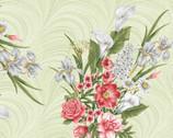 Magnificent Blooms - Bouquet Light Green from Benartex Fabrics