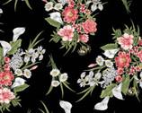 Magnificent Blooms - Bouquet Medium Black from Benartex Fabrics
